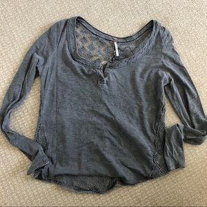 Free people gray shirt with crochet back